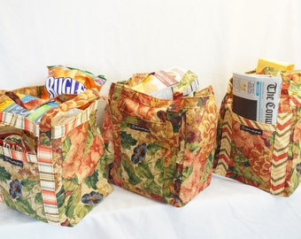 Grocery Totes/Handmade Tote/Grocery Tote Set/Reusable Bags/Market Bag/Reusable Grocery Tote/Made In Maine/Tote Bag/Shopping Bag/USA/Set of 3