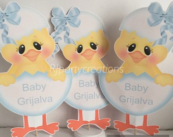 Personilized Baby Chick Centerpieces