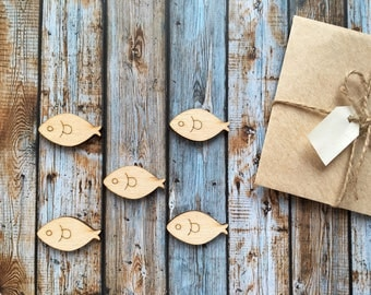 8 Pieces Fish Laser Cut Supplies, Wood Tags, Wood Blanks, Pendants, Wood Pendant, Wood Craft Supply, Wood Supplies, Wood Squares