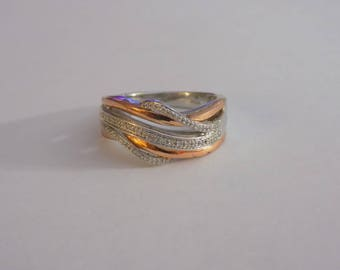 Beautiful sterling silver and copper diamond chip ring size 6.75