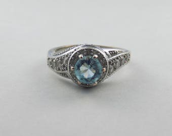 Blue CZ Sterling Silver ring