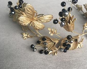 Elegant Gold and black crystal bridal crown