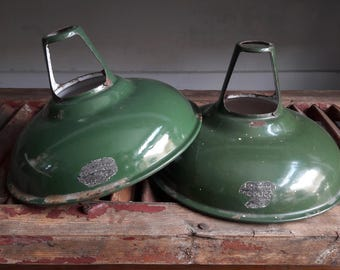 Pair of Classic Vintage Coolicon Industrial Light Shades