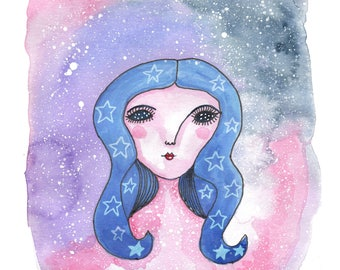 Stars in Your Eyes, Galaxy Art, Art Print, Illustration, Watercolour, Wall Art, Space Art, Quirky Art, A5 Art Print