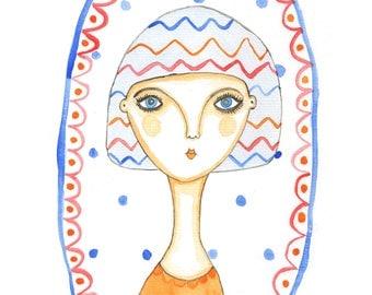 Watercolour Quirky Colourful Bright Portrait Art Print