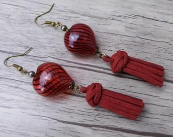 Red Tassel Earrings Heart Earrings Red Bead Earrings Long Dangle Earrings BOHO Earrings bead Drop Earrings Bohemian Earrings Tassel ED-009