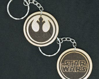 Star Wars Rebellion Hand Made Laser Engraved Wood Keyring Keychain by JayEngrave