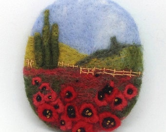 "Needle Felted Brooch ,  ""Poppy Field"",  Handmade, , Handmade Brooch, Poppy, Great Gift For Her, landscape, jewellery, Brooch"