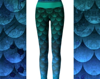 Watercolor Waves Ocean Mermaid Yoga Leggings, High Waisted Leggings, Leggings Printed, Mermaid Leggings Women