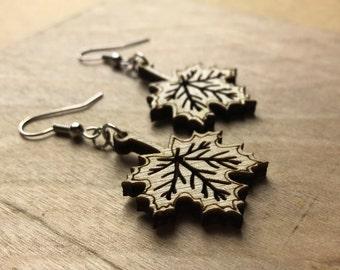 Wood Maple Leaf Earrings- Laser Engraved