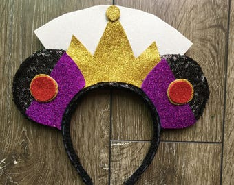 Evil Queen Glitter Minnie Mouse Ears