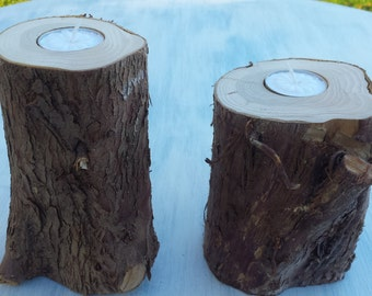 Arborvitae Log Tealight Candle Holders Set of Two