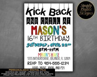 Kick Back and Chill Teen Birthday Party Invitation