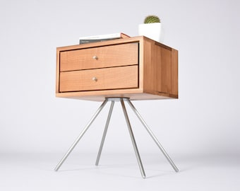 Nightstand / Bedside table mid century modern / Night table with drawers for old chestnut wood and stainless steel legs / Furniture bedside