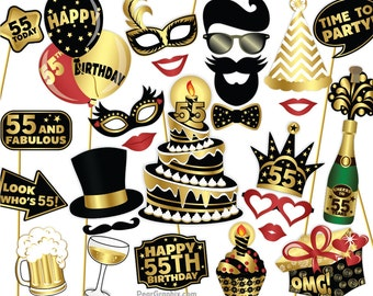 55th Birthday Photo Booth Props DIY / Fifty Fifth Birthday Party Photobooth Props / Colorful Black & Gold / Printable PDF ▷ Instant Download