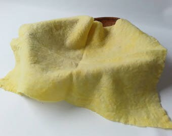 Photo Prop Very Soft, Felted, Hand Dyed 100% Merino Wool Layer, Felt Piece in Yellow, RTS