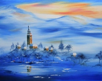 """Painting """"The Village of the blue Mountain"""""""