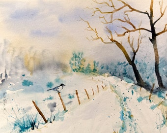 "Original watercolor of a snowy path with a magpie - original painting of a path, snow and trees - winter original painting - 11.8"" x 15.7"""