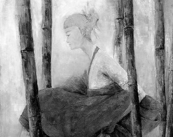 oriental, figure painting, rustic home decor,wall art, female painting, art gifts, bedroom decor,woman, black and white,bamboo