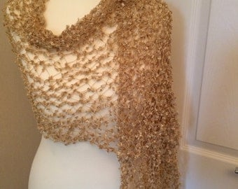 Handmade by Mrs Smith Lovely Beige Lacy Wrap / Scarf