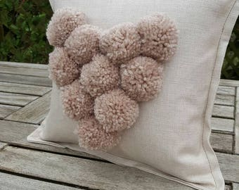 Pom pom heart cushion linen cushion with champagne coloured pompoms