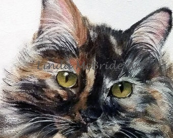 Calico Cat 3x3 gift enclosure card from my original oil painting with envelope.
