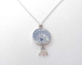 Broken China Jewellery, Sterling Silver Pendant Necklace, Blue Pendant Necklace, Broken China Jewelry, China Pendant with Pearls