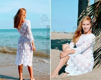 """Crochet Dress Pattern """"Pineapples"""" / Crochet Women Dress/ Crochet Wedding Dress/ Crochet Beach Dress/ Crochet Long Dress Pattern"""