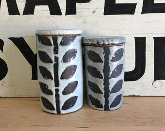 White Black and White Floral Canister | Graphic Jar with Lid