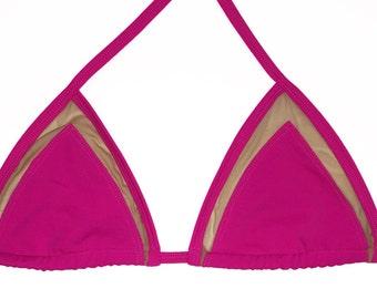 Mesh pink bikini top