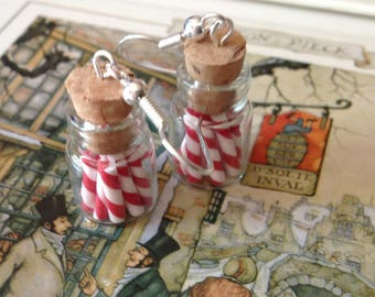Candy Cane Jar Earrings
