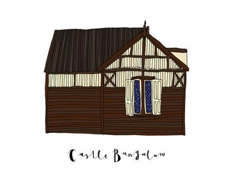 Castle Bungalow, a Landmark Trust building - A6 Greeting Card, A4 Digital Print