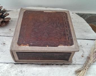 Vintage Handmade Real Leather Textile Cardboard Box, Jewelry Box, Trinket Box, Memory Box, Keepsake Box, Rustic Home Decor