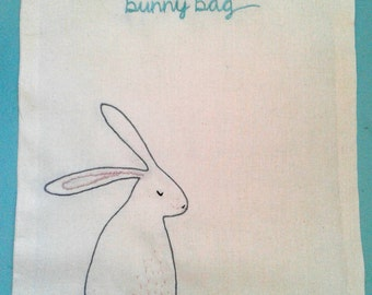 Bunny Bag Embroidery Kit Tote or Draw String Bag