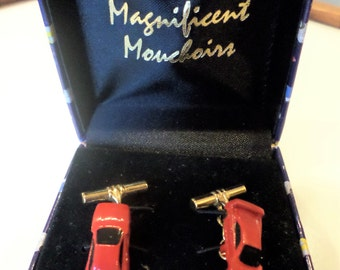 Magnificent 1990's Mouchoirs Sport Luxury Red Car Cuff Links, in Box.