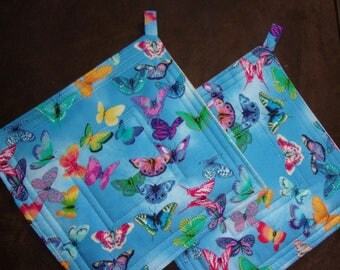 Potholders Butterfly Potholders (set of 2) , (9 inch square)