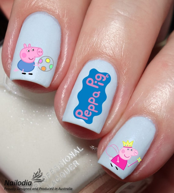 Pig Nail Art: Peppa Pig Nail Art Sticker Water Transfer Decal 12 From