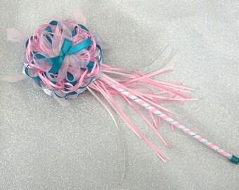 Fairy wand pink and teal costume bow Lolita girly harajuku handmade magic glinda