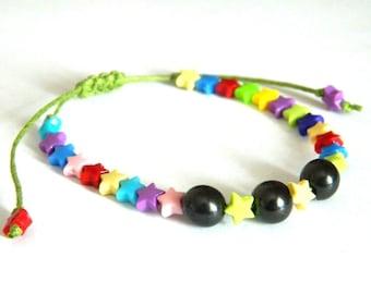 Shungite children macrame bracelet EMF protection stone bracelet