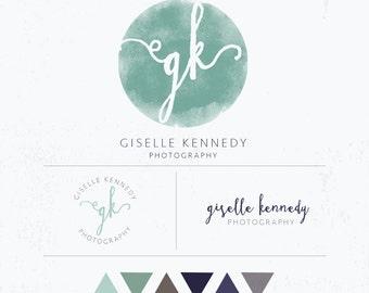 Watercolor Photography Branding Kit - trendy logo, sophisticated branding, blog branding, small business branding, branding package