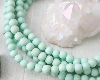 Mint Green Beads, 8mm Mint Beads, Wood Beads, Mint Wood Beads, Jewelry Beads, Bracelet Beads, Mint Beads, Mint Green, Wood Rounds,  W017