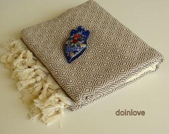 Brown colour Turkish peshtemal soft cotton bath towel, beach towel, travel towel, spa towel.