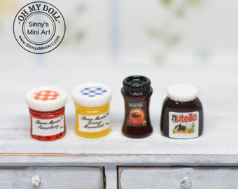 1:12 Dollhouse Miniature A Set of Jars/Miniature Peanut Butter/Miniature Coffee Jam/ Miniature Food D96