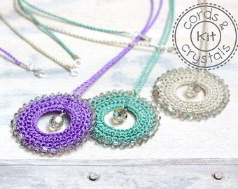 Crochet Pendant Kit with Swarovski Crystals