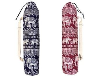 Handmade Blue/Red Thai Royal Elephant Cotton Print Yoga And Pilates Mat Bag
