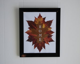 "Leaf Art ""HOME"", Fall Maple and Oak Leaves, Framed Leaf Wall Decor, Pressed Leaves"