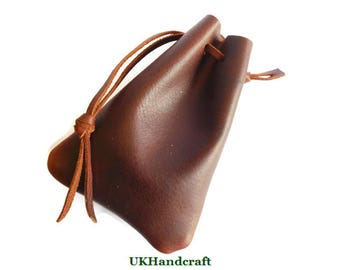 Leather Outdoor Drawstring Pouch, Larping Leather Pouch, Possibles Pouch, Leather Coin Pouch, Brush Craft Pouch, Drawstring Leather Pouch