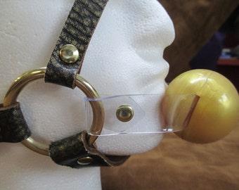 Genuine 100% Leather Ancient Pharaoh Gold Full Head Harness Ballgag/Pacigag