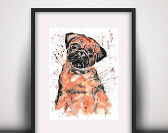 SALE Pug print, pug art print, pug painting, pug watercolour, watercolour print, art print, dog print
