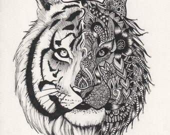 Patterned Tiger Drawing